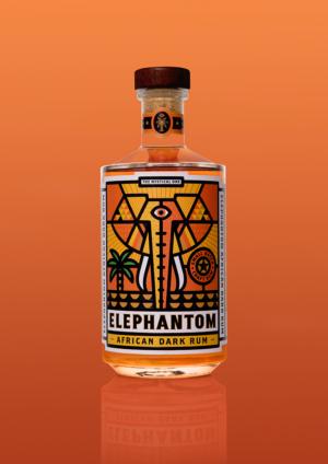 Elephantom Rum 750ml orange bottle orange background