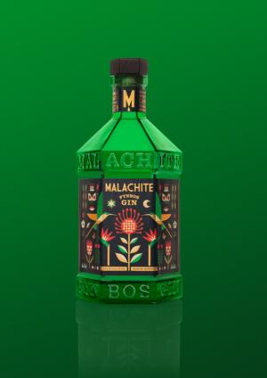 Malachite Fynbos Gin Green Bottle Green Background